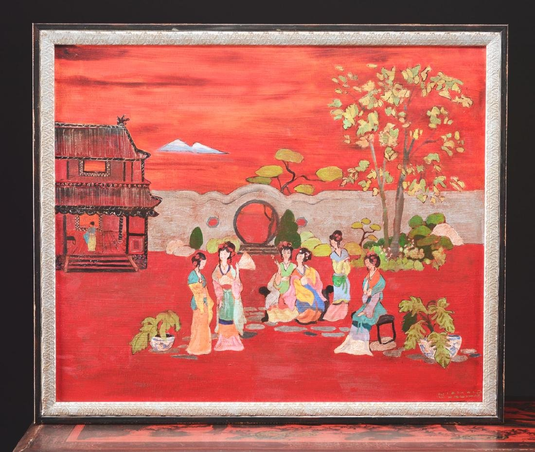 Chinese Lacquered Cabinet with Painting to Match. - 3