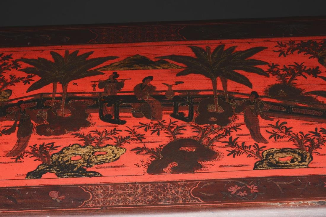 Chinese Lacquered Cabinet with Painting to Match. - 5