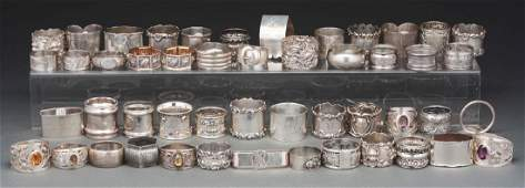 Lot Of Over 50 Sterling Silver Napkin Rings.