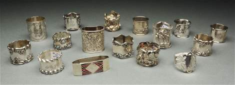 Lot of 16 Sterling Silver Napkin Rings