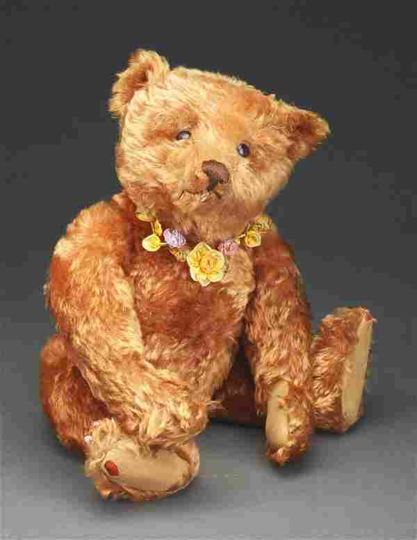 Early Steiff Apricot Teddy Bear with Button.