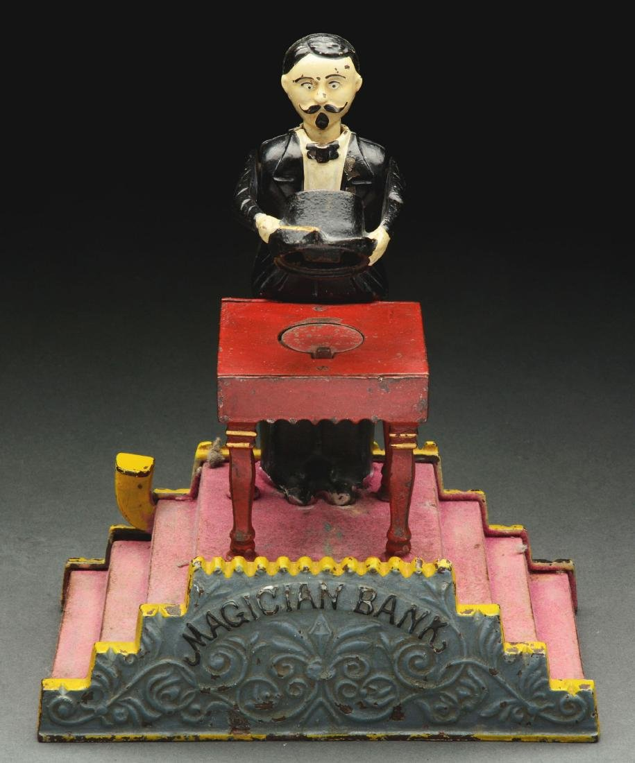 J. & E. Stevens Magician Cast Iron Mechanical Bank with