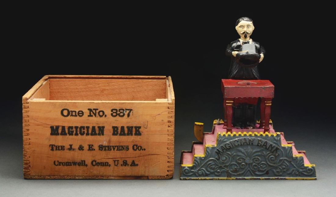 J. & E. Stevens Magician Cast Iron Mechanical Bank with - 2