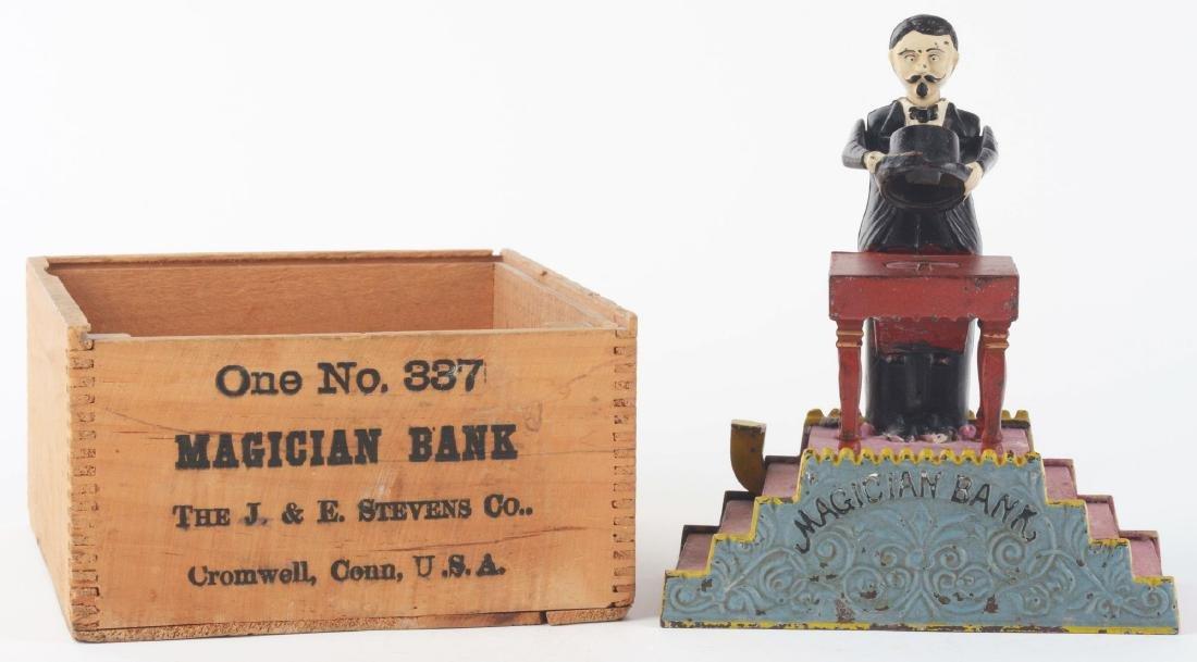 J. & E. Stevens Magician Cast Iron Mechanical Bank with - 8