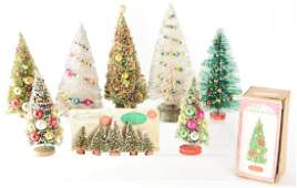 Lot of 8: Vintage Brush Christmas Trees.