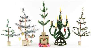 Lot Of Vintage Christmas Trees Stand And Ornaments