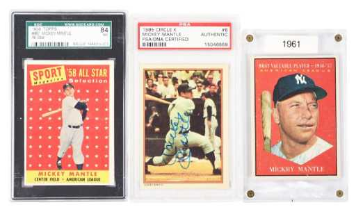 fd9d53360f4 Lot Of 3  Mickey Mantle Baseball Cards In Cases.