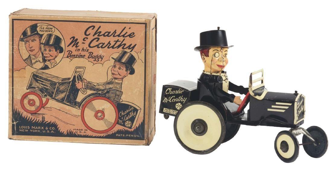 Marx Tin Litho Wind Up Charlie McCarthy Benzine Buggy