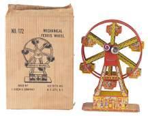 Chein Tin Litho Wind Up Mechanical Ferris Wheel In Box.
