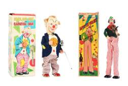Lot of 2: Tin Litho Wind Up Clowns.