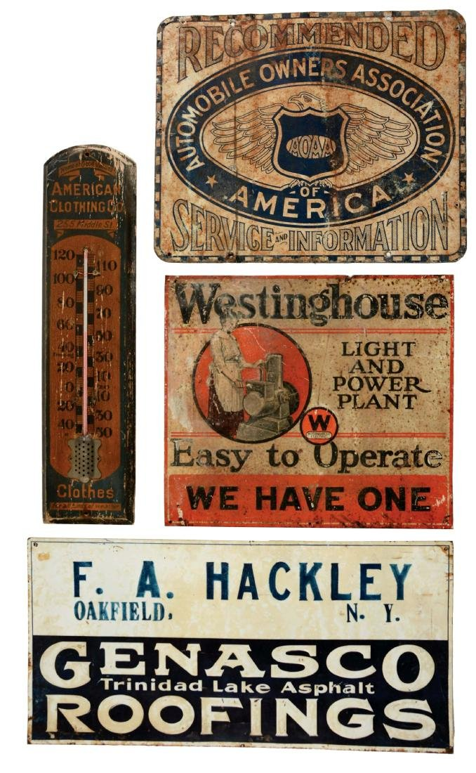 Lot of 4: Various Tin Advertising Signs & Wooden
