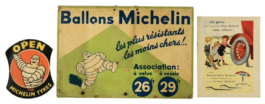 Lot of 3: Michelin Tires Advertising Pieces.