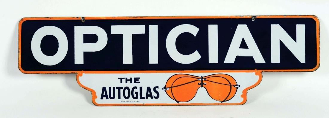 Optician Die-Cut Porcelain Sign with Autoglas Glasses - 3