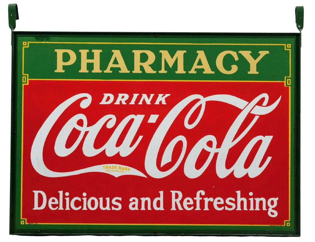Coca-Cola Pharmacy Porcelain Sign with Original Hanger.