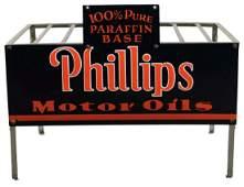 Rare Phillips 66 Motor Oil Porcelain Bottle Rack Sign