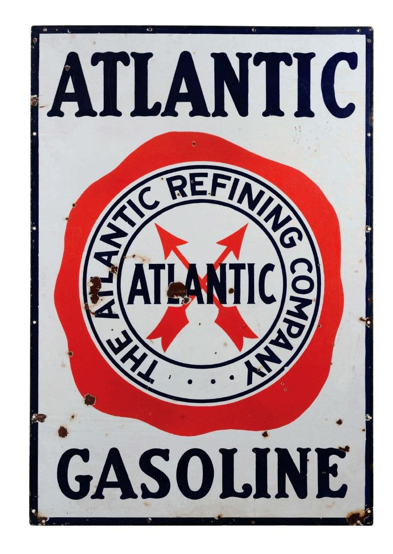Atlantic Gasoline Porcelain Sign with Crossed Arrows