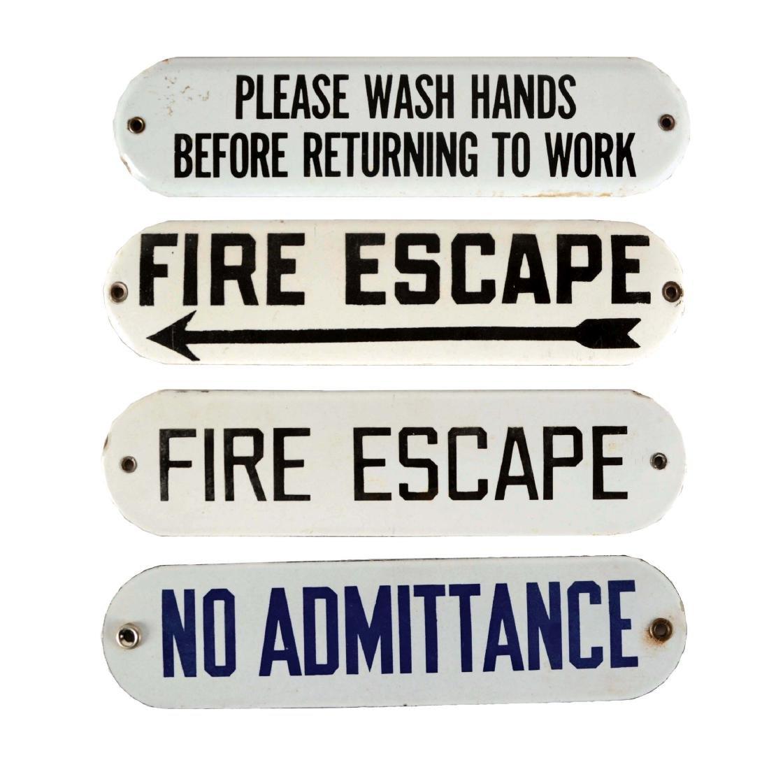 Lot of 4: Fire Escape, Please Wash Hands & No