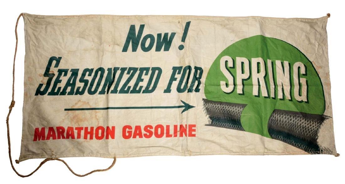 Lot of 2: Marathon & Anti-Rust Gasoline Cloth Banners.