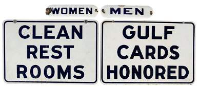 Lot Of 4 Gulf Gasoline Porcelain Signs