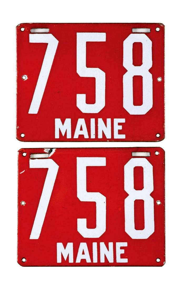 Lot of 2: Maine License Plates and Original Photo