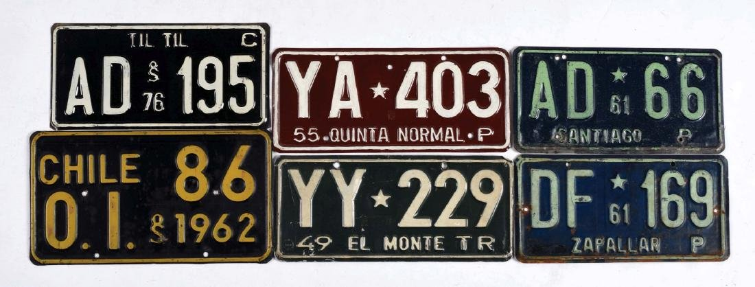 Lot Of 10: Chile License Plates.
