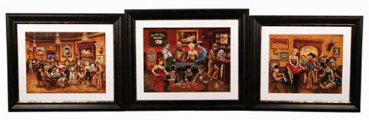 Lot Of 3 Framed Prints Of Saloon Gambling