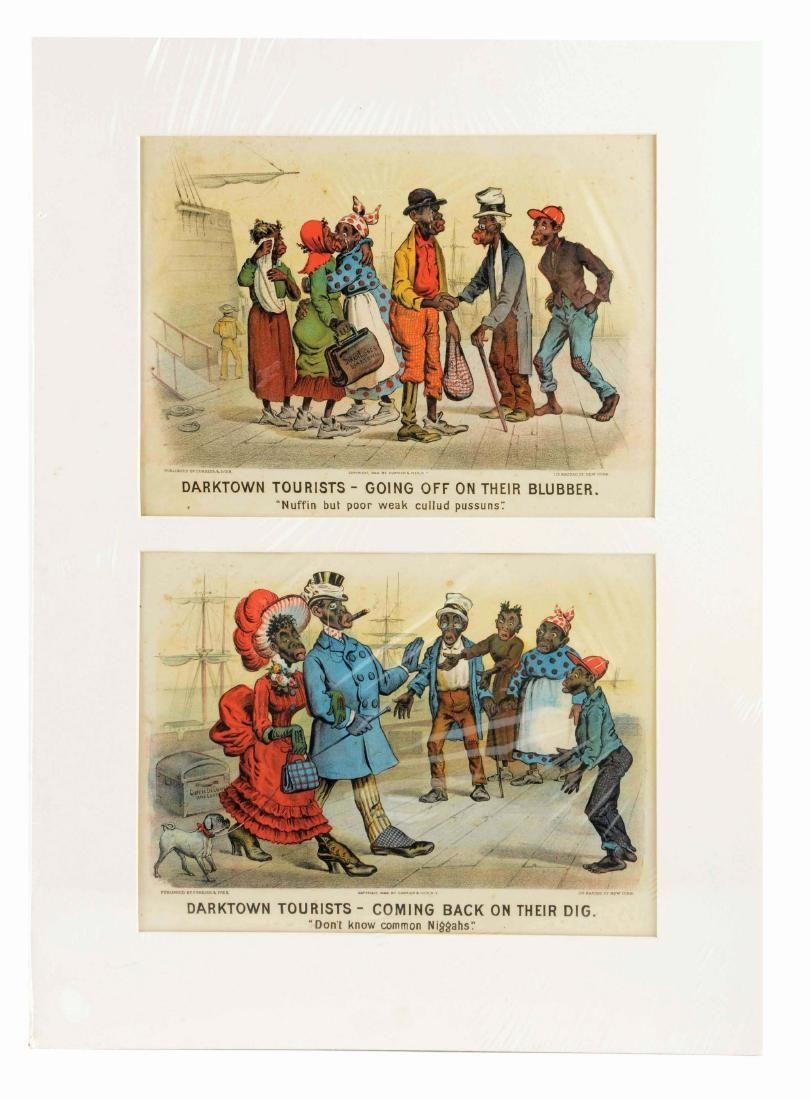 Lot Of 2: Currier Ives Darktown Tourists Lithographs.