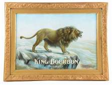 "King Bourbon ""Two Kings"" Tin Litho Advertising Sign."