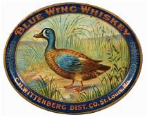 Blue Wing Whiskey Tin Litho Advertising Charger.