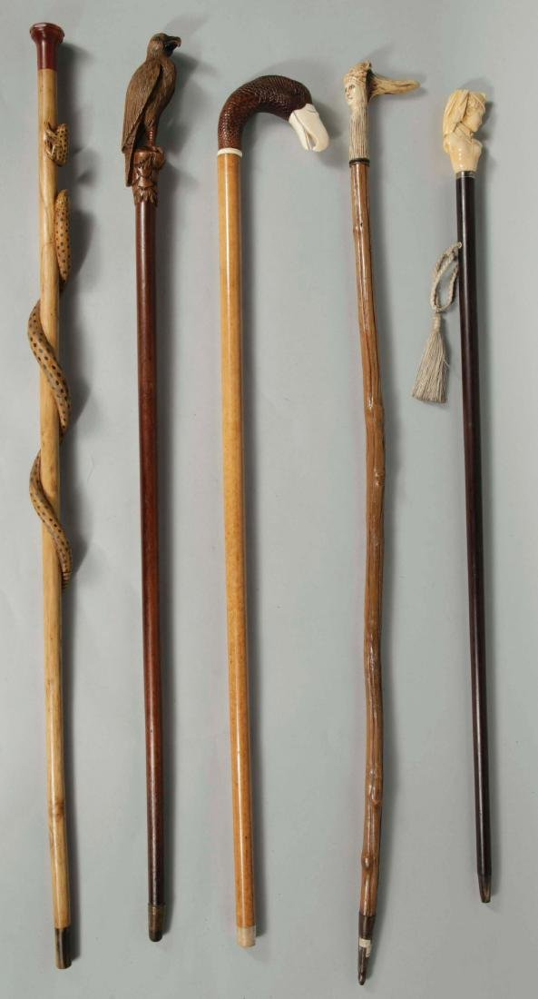 Lot of: 5 Victorian Era Canes.