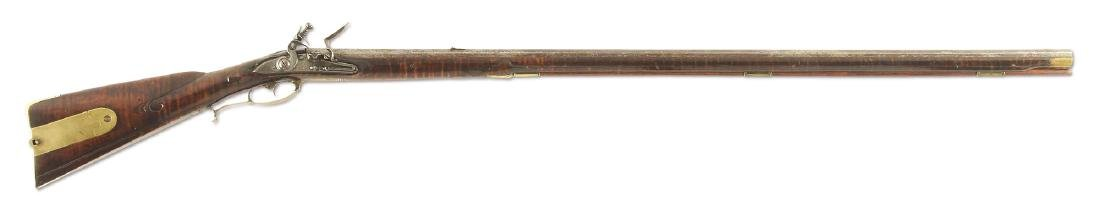 (A) EARLY AND FINE MORAVIAN FLINTLOCK RIFLE ATTRIBUTED