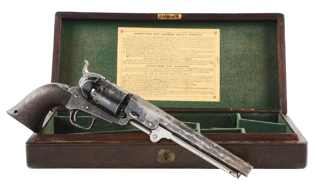 (A) CASED ENGRAVED COLT LONDON 1851 NAVY PERCUSSION