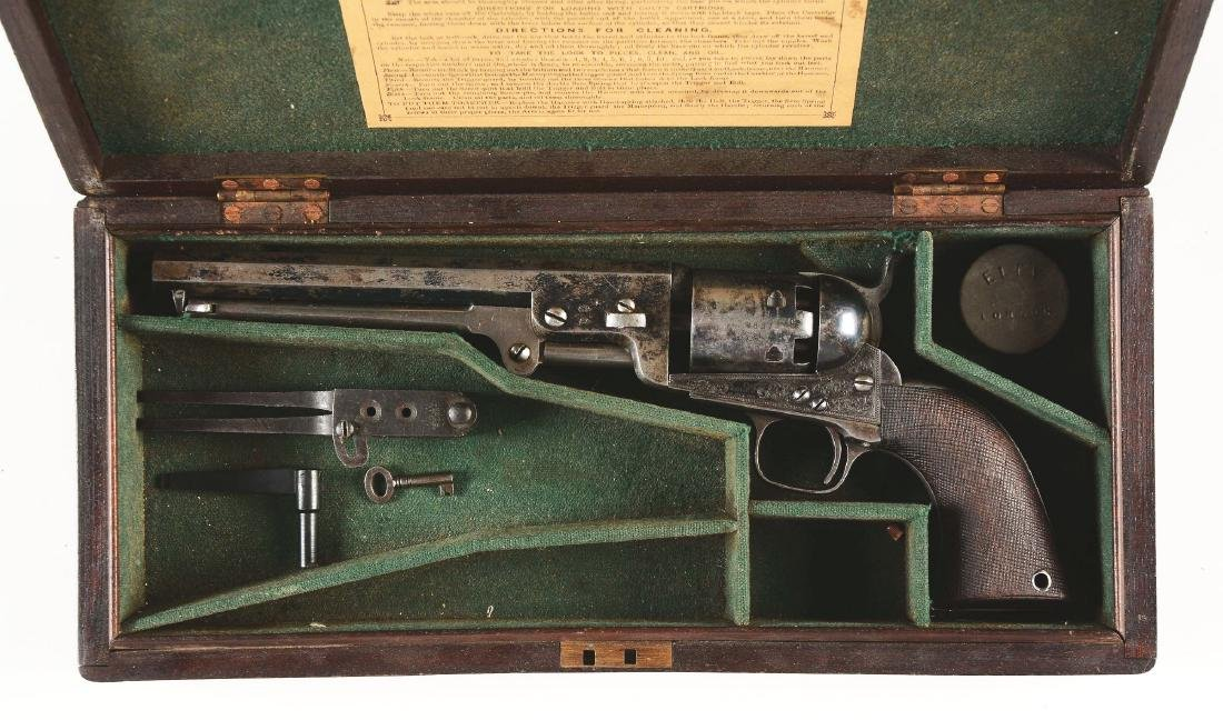 (A) CASED ENGRAVED COLT LONDON 1851 NAVY PERCUSSION - 2