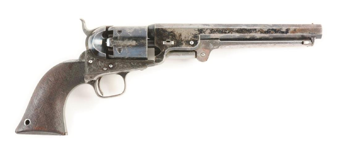 (A) CASED ENGRAVED COLT LONDON 1851 NAVY PERCUSSION - 3