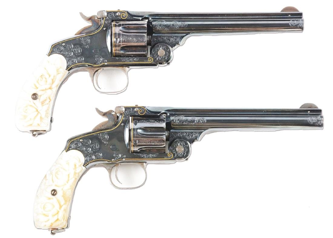 (A) CASED PAIR OF JAPANESE ENGRAVED SMITH & WESSON NO. - 2