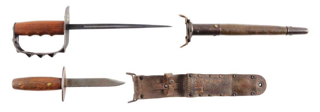 LOT OF 2: U.S. WWI MODEL 1917 TRENCH KNIFE & HANDMADE