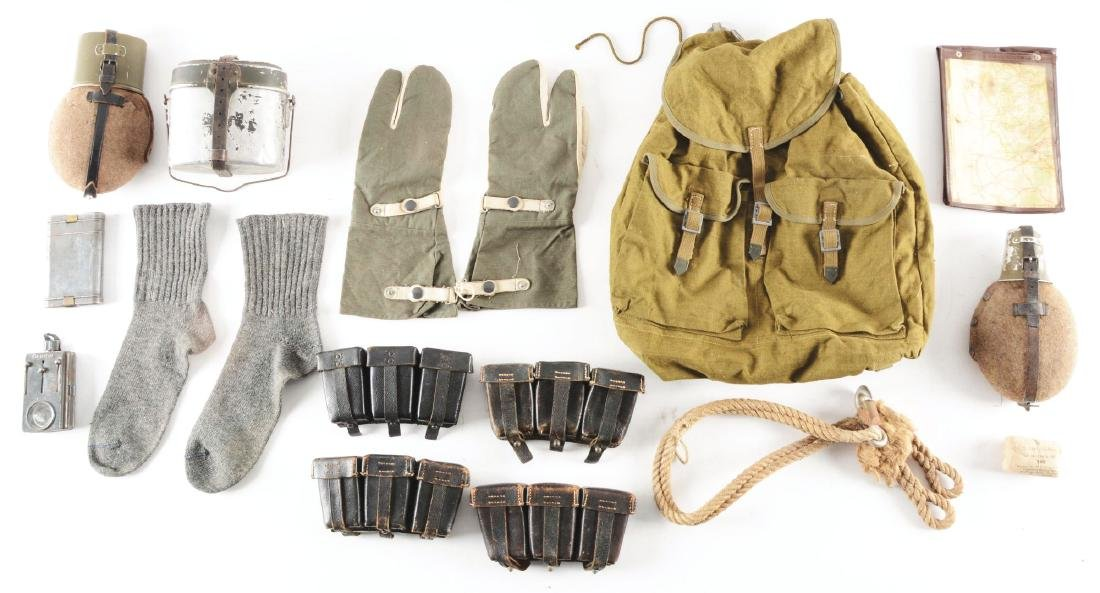 GERMAN WWII AMMUNITION CRATE WITH FIELD GEAR AND
