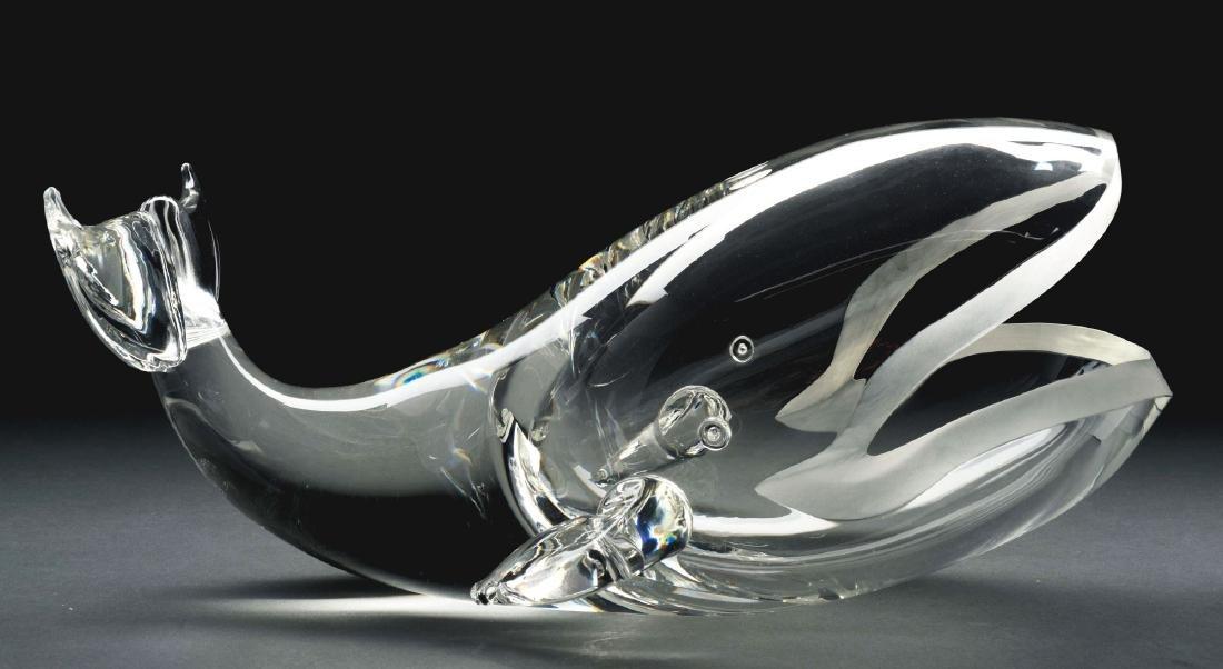 Steuben Great Whale Glass Sculpture.