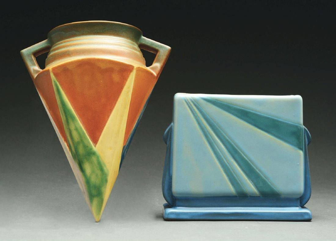 Lot of 2: Roseville Pottery, Futura Sunray Vase & Wall