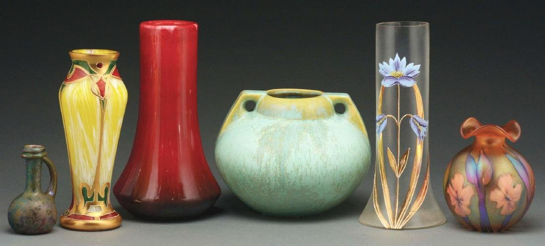Lot of 6: Pottery & Glass Vases.