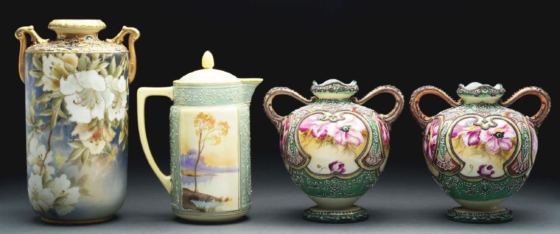 Lot of 4: Nippon Vases & Tea Pot.
