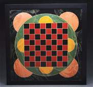 Superb  Unusual Decorated Checkers Game Board