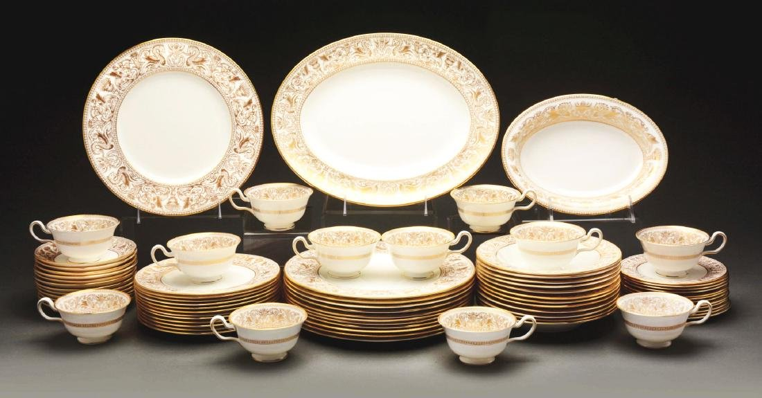 """Wedgwood Dinner Service for 12 in """"Gold Florentine"""""""