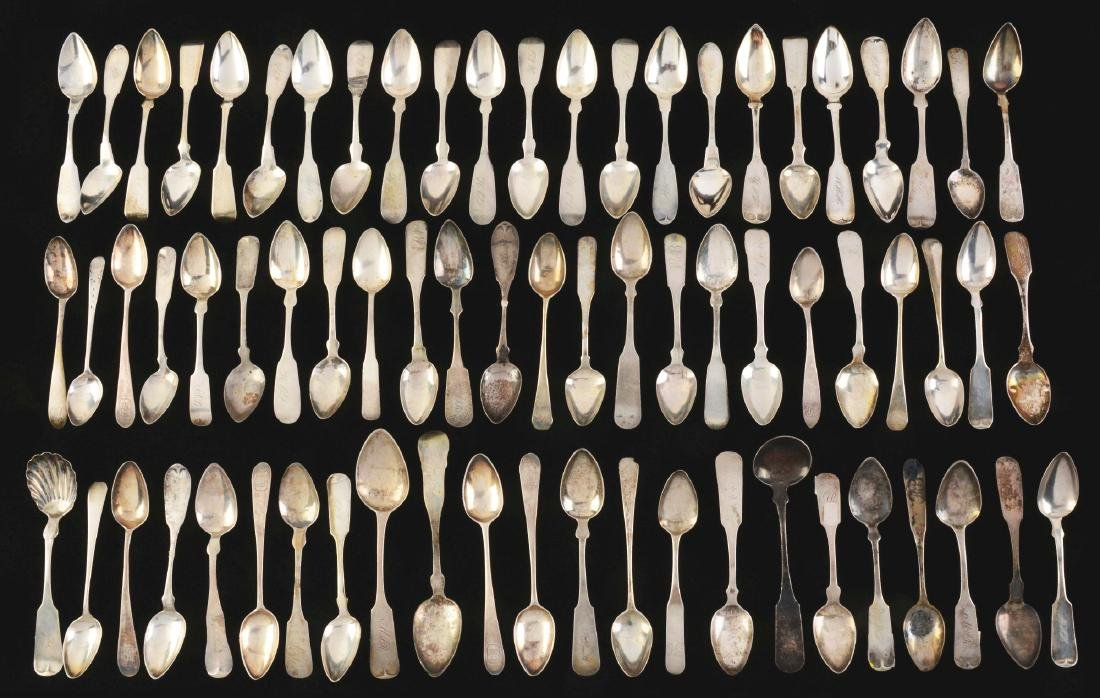 A Large Group of American Coin Silver Spoons.