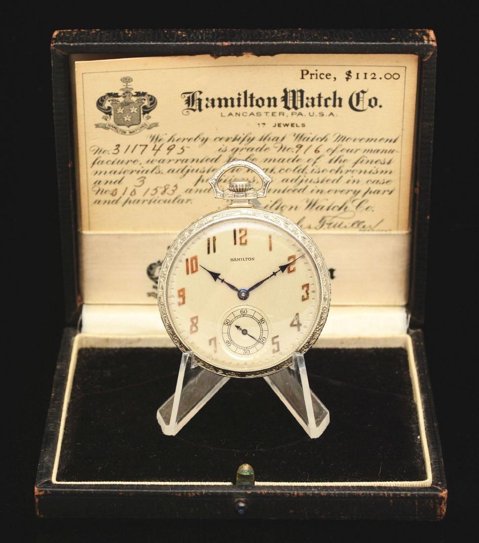 14K White Gold O/F Hamilton 916 Pocket Watch In Box