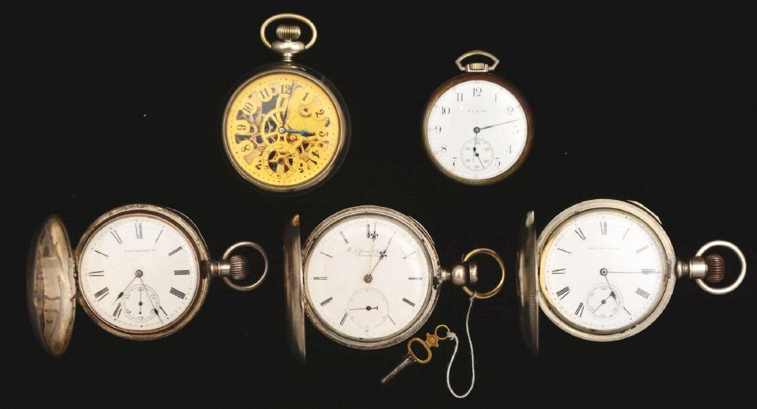 Lot of 5: American Silver-Tone Pocket Watches.