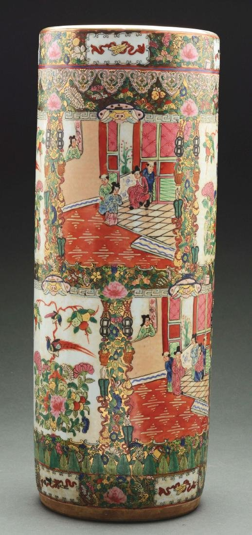 Famille Rose Chinese Porcelain Umbrella Stand.