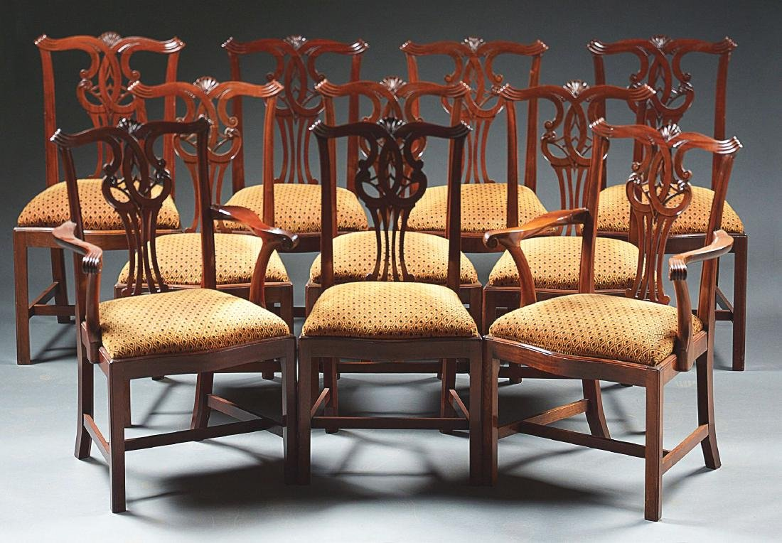 Set of 10 Chippendale Style Mahogany Dining Chairs.