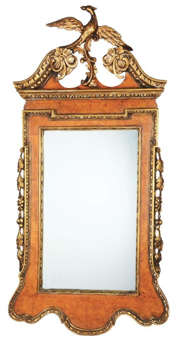 Chippendale Style Burl Walnut & Gilt Mirror.