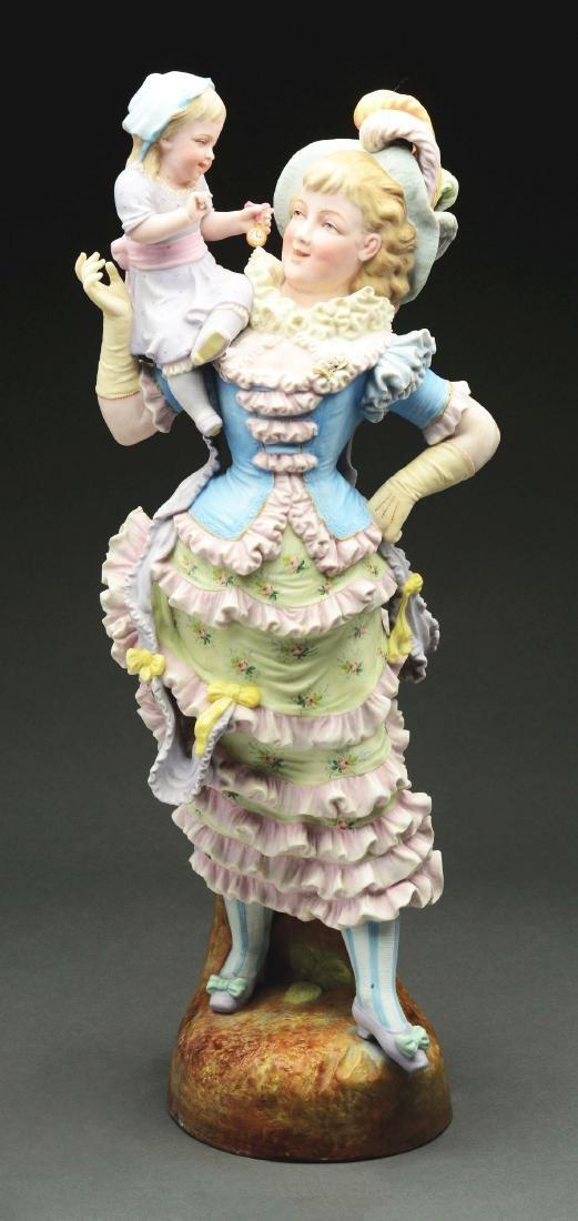 German Ceramic Victorian Lady Figure with Child.